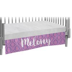 Pink, White & Purple Damask Crib Skirt (Personalized)