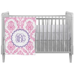 Pink, White & Purple Damask Crib Comforter / Quilt (Personalized)