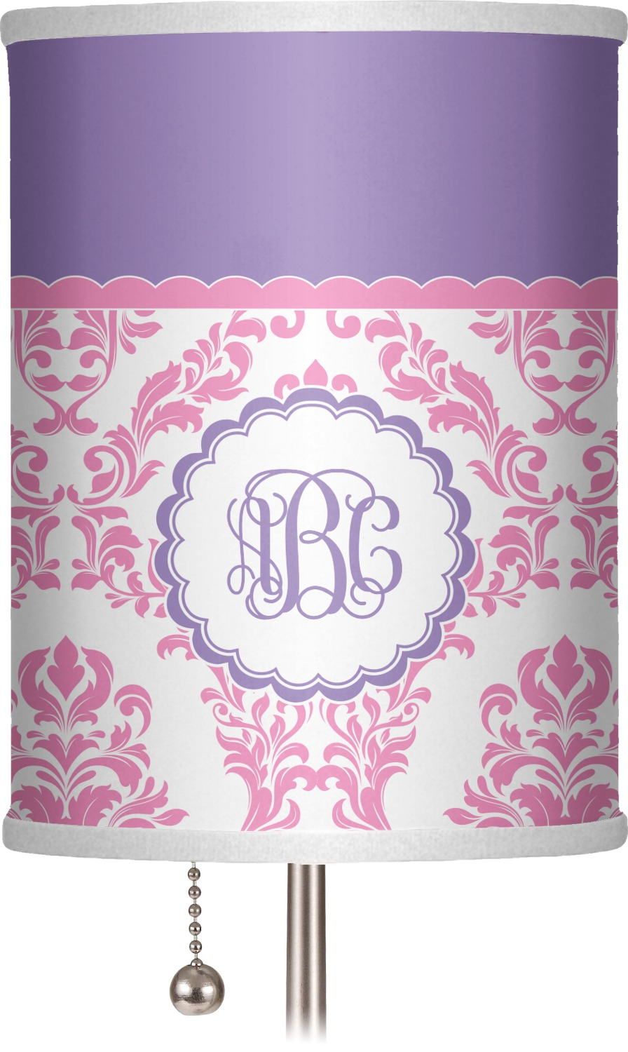 Pink White Purple Damask 7 Drum Lamp Shade Personalized