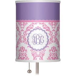 "Pink, White & Purple Damask 7"" Drum Lamp Shade (Personalized)"