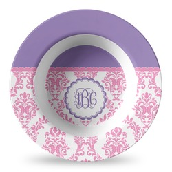 Pink, White & Purple Damask Plastic Bowl - Microwave Safe - Composite Polymer (Personalized)