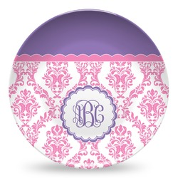Pink, White & Purple Damask Microwave Safe Plastic Plate - Composite Polymer (Personalized)