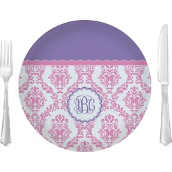 Pink, White & Purple Damask Dinner Plate (Personalized)