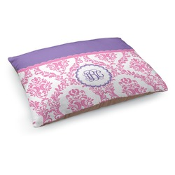 Pink, White & Purple Damask Dog Pillow Bed (Personalized)