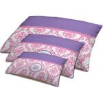 Pink, White & Purple Damask Dog Bed w/ Monogram