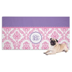 Pink, White & Purple Damask Pet Towel (Personalized)