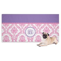 Pink, White & Purple Damask Pet Towel (Personalized)