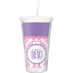 Pink, White & Purple Damask Double Wall Tumbler with Straw (Personalized)