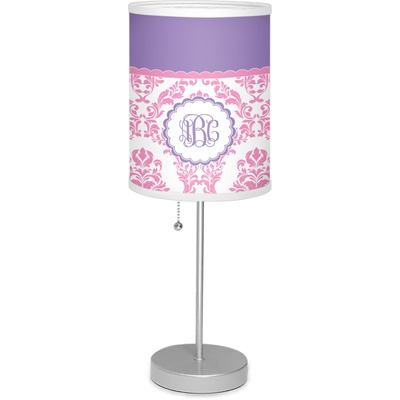 """Pink, White & Purple Damask 7"""" Drum Lamp with Shade (Personalized)"""