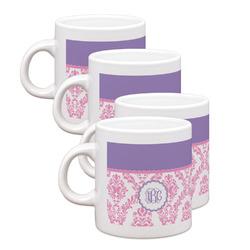 Pink, White & Purple Damask Espresso Mugs - Set of 4 (Personalized)