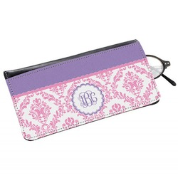 Pink, White & Purple Damask Genuine Leather Eyeglass Case (Personalized)