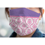 Pink, White & Purple Damask Face Mask Cover (Personalized)