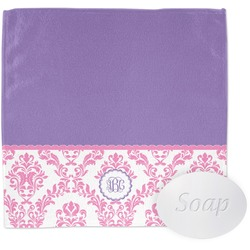Pink, White & Purple Damask Wash Cloth (Personalized)