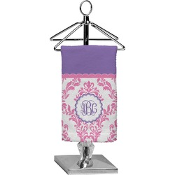 Pink, White & Purple Damask Finger Tip Towel - Full Print (Personalized)