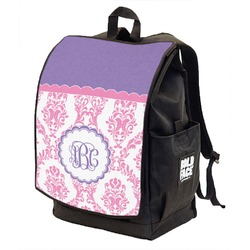Pink, White & Purple Damask Backpack w/ Front Flap  (Personalized)