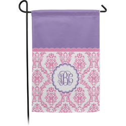 Pink, White & Purple Damask Garden Flag - Single or Double Sided (Personalized)
