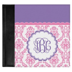 Pink, White & Purple Damask Genuine Leather Baby Memory Book (Personalized)