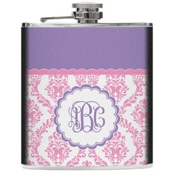 Pink, White & Purple Damask Genuine Leather Flask (Personalized)