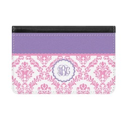 Pink, White & Purple Damask Genuine Leather ID & Card Wallet - Slim Style (Personalized)