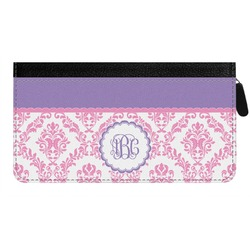 Pink, White & Purple Damask Genuine Leather Ladies Zippered Wallet (Personalized)