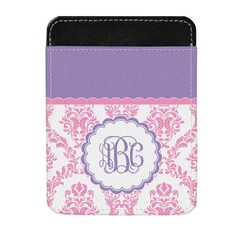Pink, White & Purple Damask Genuine Leather Money Clip (Personalized)