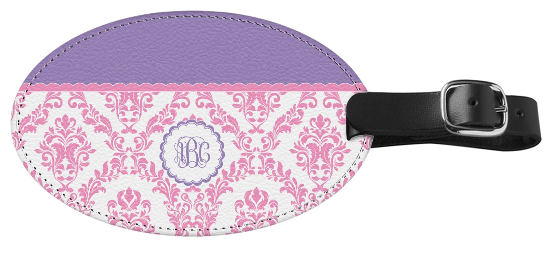 Purple Tag: Pink, White & Purple Damask Genuine Leather Oval Luggage