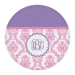 Pink, White & Purple Damask Round Desk Weight - Genuine Leather  (Personalized)