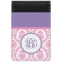 Pink, White & Purple Damask Genuine Leather Small Memo Pad (Personalized)