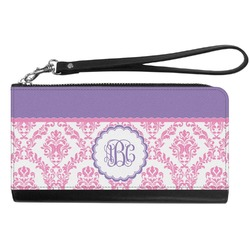 Pink, White & Purple Damask Genuine Leather Smartphone Wrist Wallet (Personalized)
