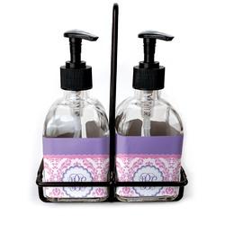 Pink, White & Purple Damask Soap & Lotion Dispenser Set (Glass) (Personalized)