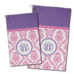 Pink, White & Purple Damask Golf Towel - Full Print w/ Monogram