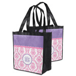 Pink, White & Purple Damask Grocery Bag (Personalized)