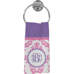 Pink, White & Purple Damask Hand Towel - Full Print (Personalized)