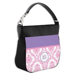Pink, White & Purple Damask Hobo Purse w/ Genuine Leather Trim (Personalized)