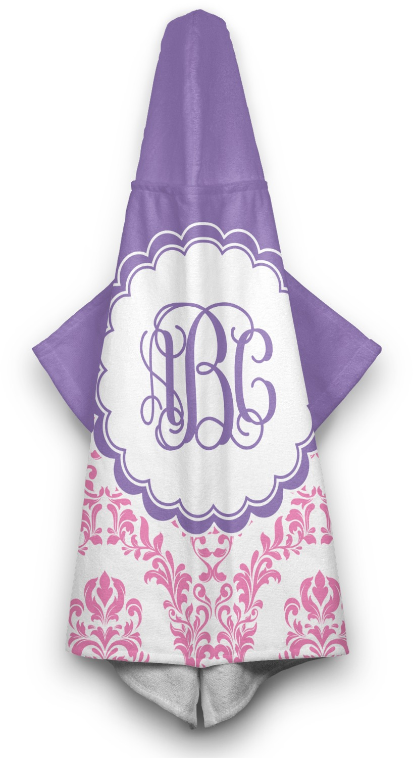 Pink White Amp Purple Damask Hooded Towel Personalized