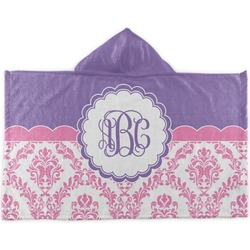 Pink, White & Purple Damask Kids Hooded Towel (Personalized)