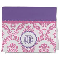 Pink, White & Purple Damask Kitchen Towel - Full Print (Personalized)