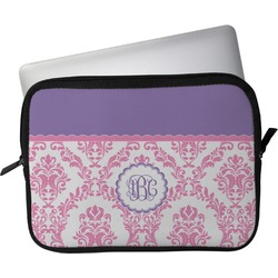 "Pink, White & Purple Damask Laptop Sleeve / Case - 13"" (Personalized)"