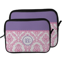Pink, White & Purple Damask Laptop Sleeve / Case (Personalized)