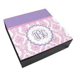 Pink, White & Purple Damask Leatherette Keepsake Box - 3 Sizes (Personalized)