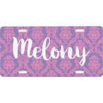 Pink, White & Purple Damask Front License Plate (Personalized)