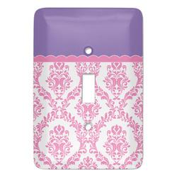 Pink, White & Purple Damask Light Switch Covers (Personalized)