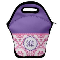 Pink, White & Purple Damask Lunch Bag w/ Monogram