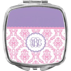Pink, White & Purple Damask Compact Makeup Mirror (Personalized)