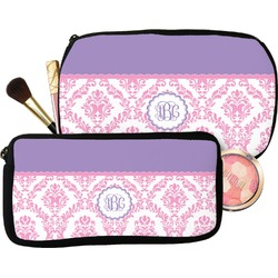 Pink, White & Purple Damask Makeup / Cosmetic Bag (Personalized)