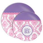 Pink, White & Purple Damask Melamine Plate (Personalized)