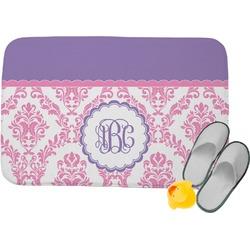 Pink, White & Purple Damask Memory Foam Bath Mat (Personalized)