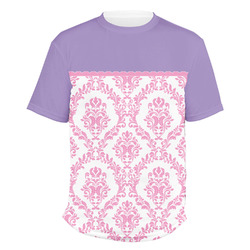 Pink, White & Purple Damask Men's Crew T-Shirt (Personalized)