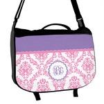 Pink, White & Purple Damask Messenger Bag (Personalized)