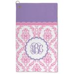 Pink, White & Purple Damask Microfiber Golf Towel - Large (Personalized)